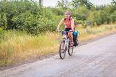 Girl, hiking, biking — Stock Photo