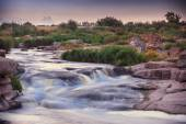 Rough river with rapids — Stock Photo