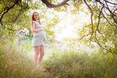 Pregnant in the forest — Stock Photo