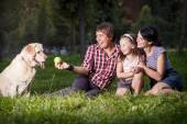 Family sitting on the grass with dog — Stock Photo