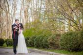 The bride and groom in a beautiful park — Stock Photo