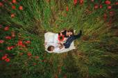 Pregnant couple lie on the grass — Stock Photo