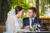 Couple, hands, hold, napkin — Stock Photo
