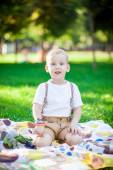 Boy playing in a park — Stock Photo