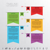 Infographic timeline design template with icons. Flag style — Stock Vector