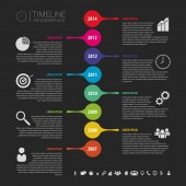 Flat colorful abstract timeline infographics vector. Black — Stock Vector