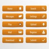 Orange web design buttons set. Vector illustration — Stock Vector