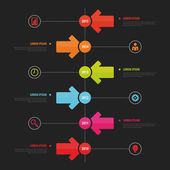 Timeline Infographic, Vector design template. Black — Wektor stockowy