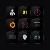 Zwart glazen infographic sjabloonontwerp. Vector — Stockvector