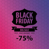 Black friday sale illustration with ribbon. Poster. Vector — Stock Vector