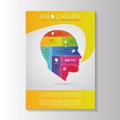 Vector brochure template design with infographic head. Vector — ストックベクタ