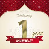 1 year anniversary celebration golden style. Vector — Stock Vector