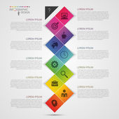Flat colorful abstract timeline infographics vector illustration with rectangle — Stock Vector