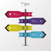Infographic template of multidirectional pointers on a signpost — Stock Vector
