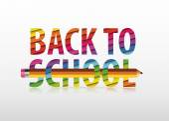 "Vector multicolored ""Back to School"" text — Stock Vector"