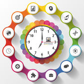 Modern work time management planning. Colorful infographics. Vector illustration — Stock Vector