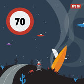 Alien speed limit sign and crash of a flying saucer — Wektor stockowy