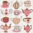 Pattern with tea cups and tea pots — Stock Vector #70322131