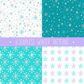Winter-set mit Schneeflocken-Muster — Stockvektor