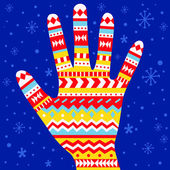 Winter mitten with geometric ornament. — Vettoriale Stock