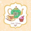 Cute tea time card — Stock Vector #70491601