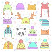 Children's winter hats set — Stock Vector