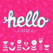 Hello card with typography elements — Stock Vector
