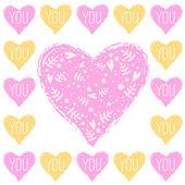 Carte de voeux avec coeurs — Vecteur