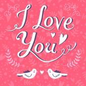 Te amo tarjeta de felicitación — Vector de stock