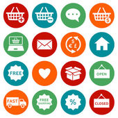 Shopping and e-commerce icons — Stock Vector