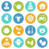 Farming, harvesting and agriculture icons — Stock Vector