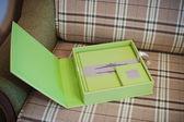 green leather wedding photo book album — Stock Photo