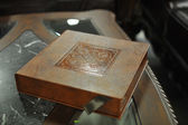 Brown leather wedding photo book album — Stock Photo