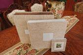 Textile vintage wedding photo book album — Stock Photo