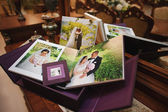 Textile vintage wedding photo book album — Foto Stock