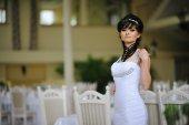 Brunette bride with original hair dress — Stock Photo