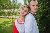 Wedding beautiful couple in traditional dress — Foto de Stock