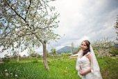Bride near the blossom tree — Stock Photo