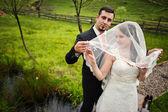 Casal de noivos na ponte pequena — Fotografia Stock