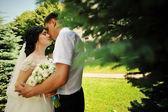 Wedding couple embrace close up — Stock Photo