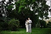 Newlyweds at they wedding day — Stock Photo