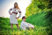 Romantic couple on traditional dress — Stock Photo