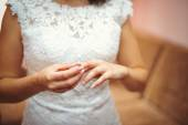 Hands of bride with ring — Stock Photo