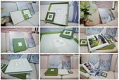 Green and white leather wedding photo book and album — Stock Photo