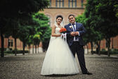Newlyweds background alley of old architecture house and tower — Stock Photo