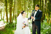 Newlyweds on swing on wood — Stock Photo