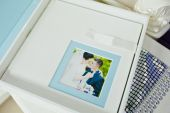 White and blue paspartu wedding photo book and album — Stock Photo