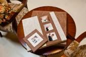Textile wedding photo book and album — Zdjęcie stockowe