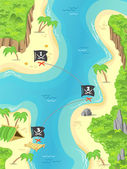 Pirate treasure island — Stok Vektör