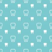 Witte tanden op turkooizen achtergrond. Vector tandheelkundige naadloze patt — Stockvector